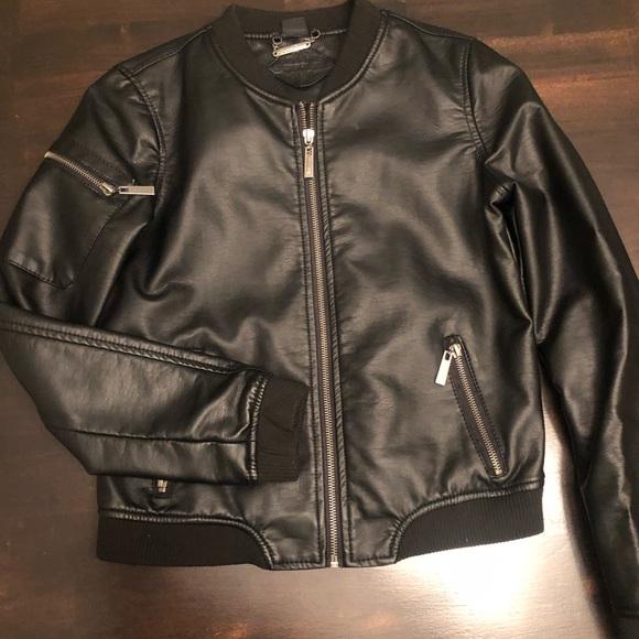 Black soft fake leather jacket.